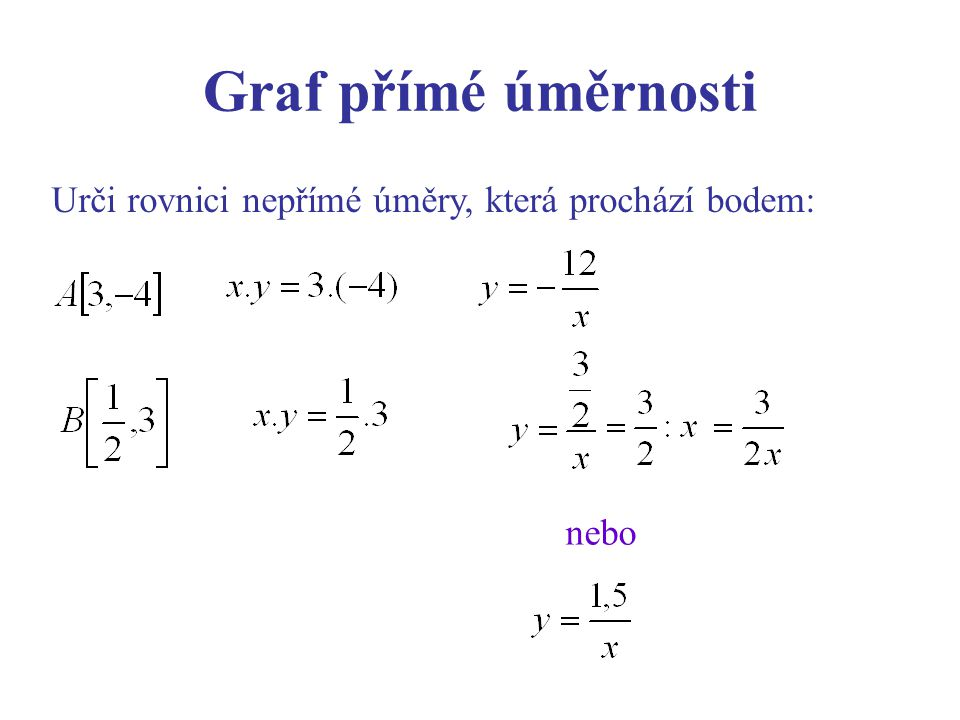 Urči rovnici nepřímé úměry, která prochází bodem: nebo Graf přímé úměrnosti