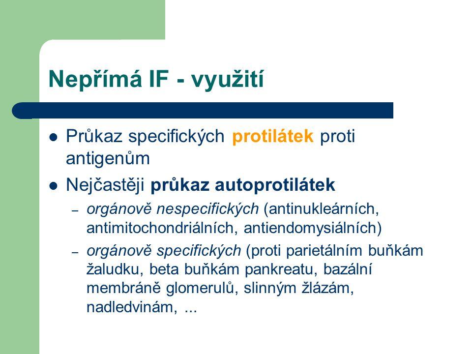 Nepřímá IF - využití Průkaz specifických protilátek proti antigenům Nejčastěji průkaz autoprotilátek – orgánově nespecifických (antinukleárních, antim