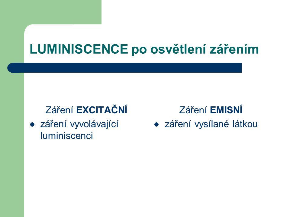 LUMINISCENCE po osvětlení zářením FLUORESCENCE vyzařování emisního světla trvá krátkou dobu po zhasnutí excitačního záření téměř okamžitě emise zhasíná (asi za 10 -8 sekundy)  Látka schopná fluorescence → FLUOROCHROM FOSFORESCENCE vyzařování emisního světla trvá i dlouhou dobu po zhasnutí excitačního záření