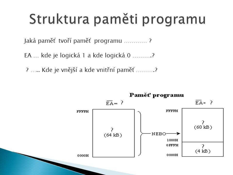 . Jaká paměť tvoří paměť programu ………… . EA … kde je logická 1 a kde logická 0 ………..