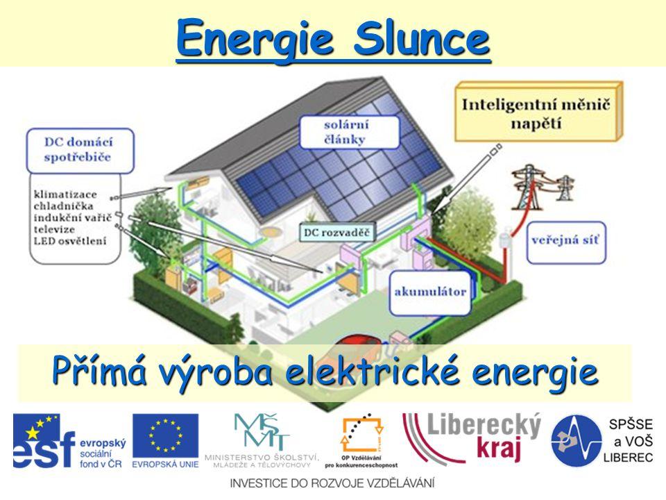 Princip fotovoltaického článku *po ozáření se vytvoří páry elektron – díra, které jsou separovány vnitřním elektrickým polem PN přechodu *tím se vytvoří rozdíl potenciálů mezi spodní a vrchní vrstvou  na článku naměříme napětí asi 0,5 V *po připojení zátěže začne procházet proud *pro praktické využití je třeba sério-paralelní zapojení článků
