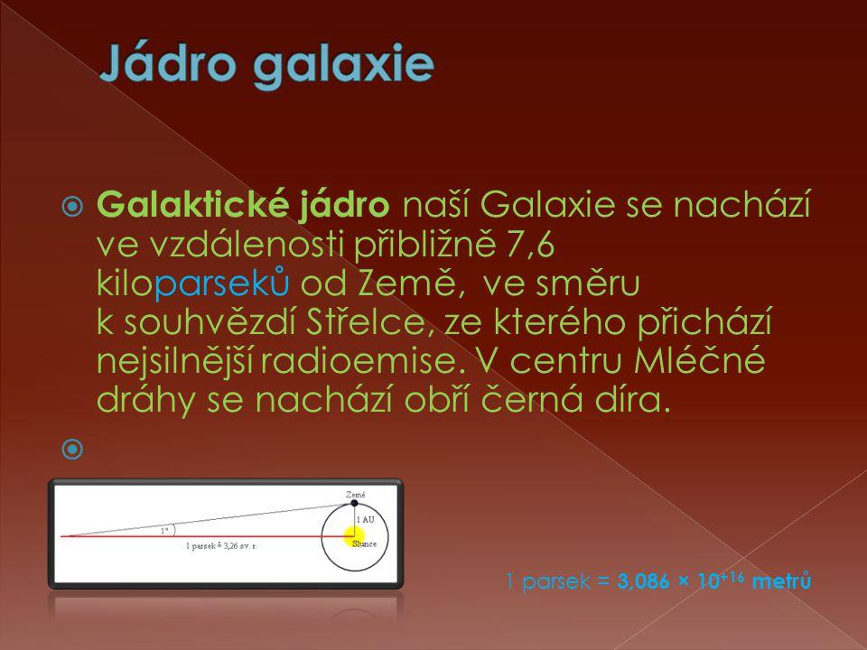  Galaktické jádro naší Galaxie se nachází ve vzdálenosti přibližně 7,6 kiloparseků od Země, ve směru k souhvězdí Střelce, ze kterého přichází nejsilnější radioemise.