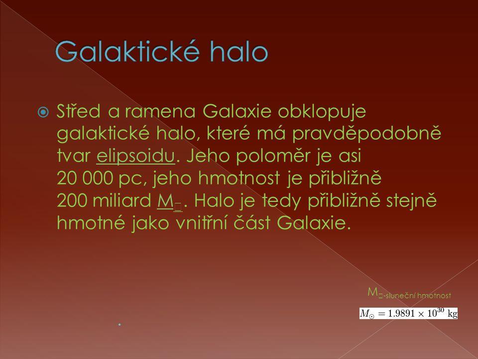  Střed a ramena Galaxie obklopuje galaktické halo, které má pravděpodobně tvar elipsoidu.