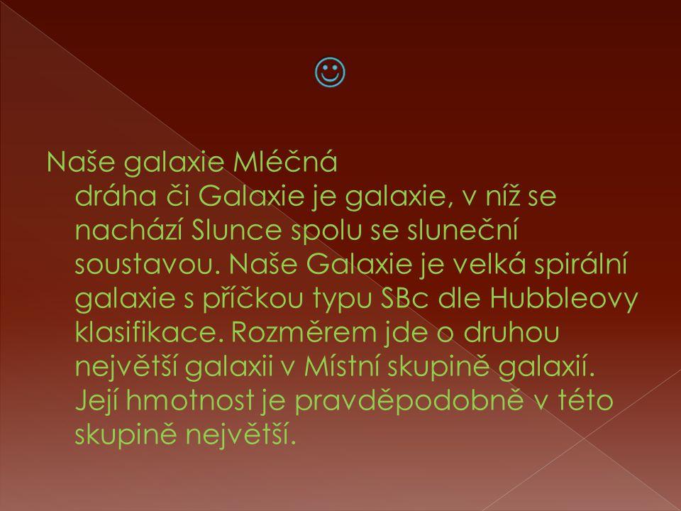 Naše galaxie Mléčná dráha či Galaxie je galaxie, v níž se nachází Slunce spolu se sluneční soustavou.