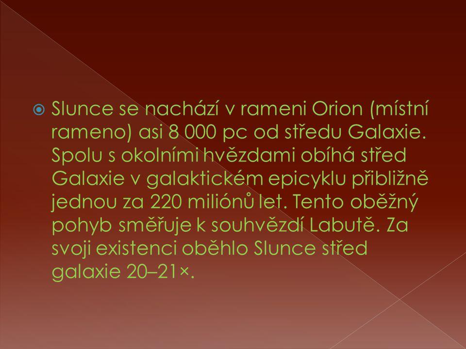  Slunce se nachází v rameni Orion (místní rameno) asi 8 000 pc od středu Galaxie.