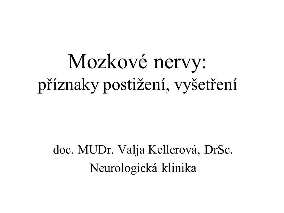 Mozkové nervy: příznaky postižení, vyšetření doc. MUDr. Valja Kellerová, DrSc. Neurologická klinika