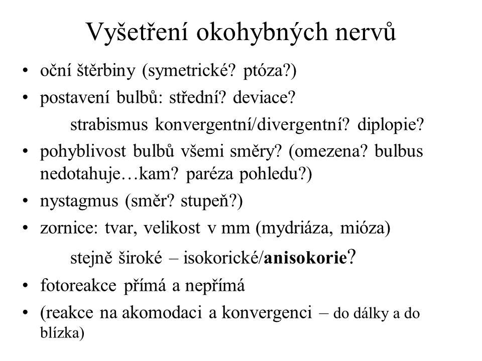 Vyšetření okohybných nervů oční štěrbiny (symetrické? ptóza?) postavení bulbů: střední? deviace? strabismus konvergentní/divergentní? diplopie? pohybl