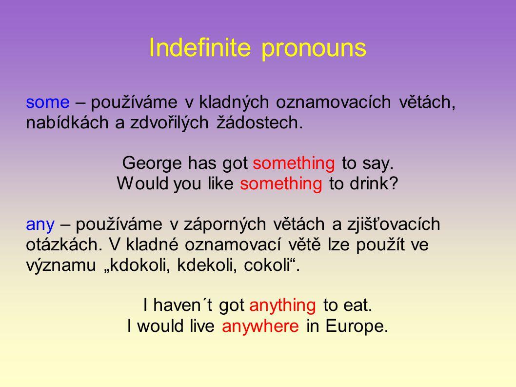 Indefinite pronouns some – používáme v kladných oznamovacích větách, nabídkách a zdvořilých žádostech.