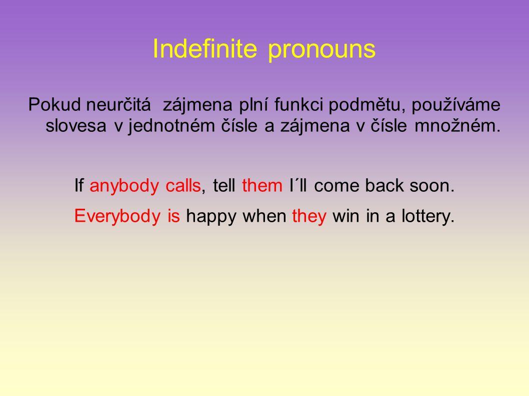 Indefinite pronouns Pokud neurčitá zájmena plní funkci podmětu, používáme slovesa v jednotném čísle a zájmena v čísle množném.