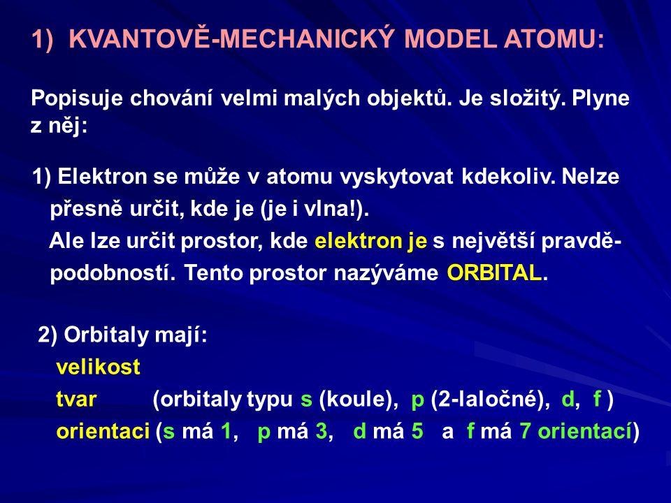 1) KVANTOVĚ-MECHANICKÝ MODEL ATOMU: Popisuje chování velmi malých objektů. Je složitý. Plyne z něj: 1) Elektron se může v atomu vyskytovat kdekoliv. N