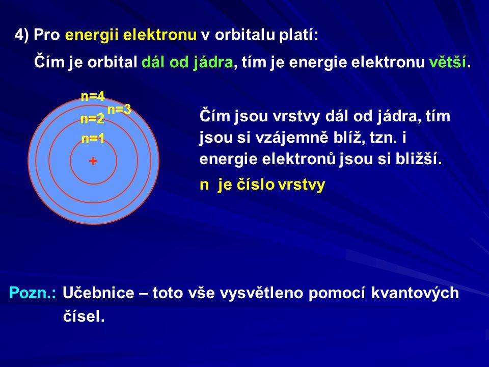 4) Pro energii elektronu v orbitalu platí: Čím je orbital dál od jádra, tím je energie elektronu větší. Čím jsou vrstvy dál od jádra, tím jsou si vzáj