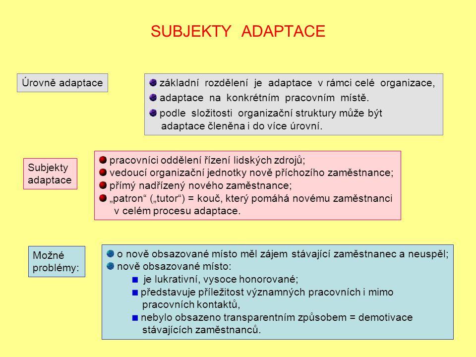 SUBJEKTY ADAPTACE základní rozdělení je adaptace v rámci celé organizace, adaptace na konkrétním pracovním místě. podle složitosti organizační struktu