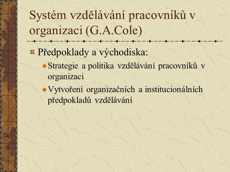 Systém vzdělávání pracovníků v organizaci (G.A.Cole) Předpoklady a východiska: Strategie a politika vzdělávání pracovníků v organizaci Vytvoření organizačních a institucionálních předpokladů vzdělávání