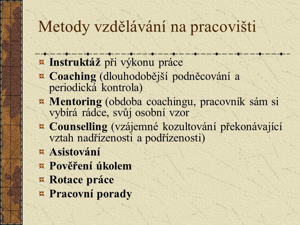 Metody vzdělávání na pracovišti Instruktáž při výkonu práce Coaching (dlouhodobější podněcování a periodická kontrola) Mentoring (obdoba coachingu, pracovník sám si vybírá rádce, svůj osobní vzor Counselling (vzájemné kozultování překonávající vztah nadřízenosti a podřízenosti) Asistování Pověření úkolem Rotace práce Pracovní porady