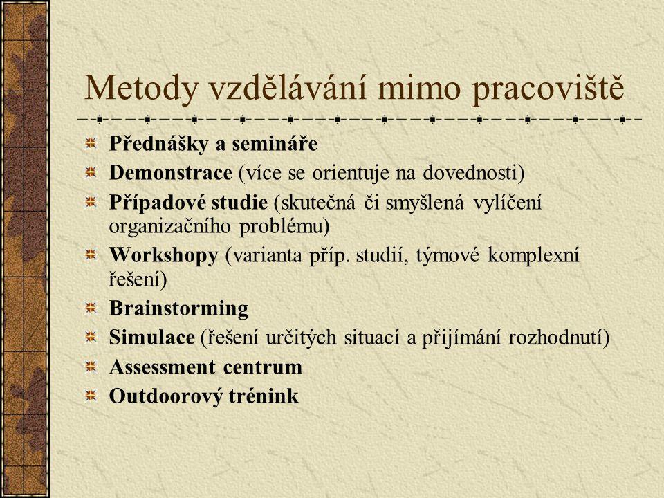Metody vzdělávání mimo pracoviště Přednášky a semináře Demonstrace (více se orientuje na dovednosti) Případové studie (skutečná či smyšlená vylíčení organizačního problému) Workshopy (varianta příp.