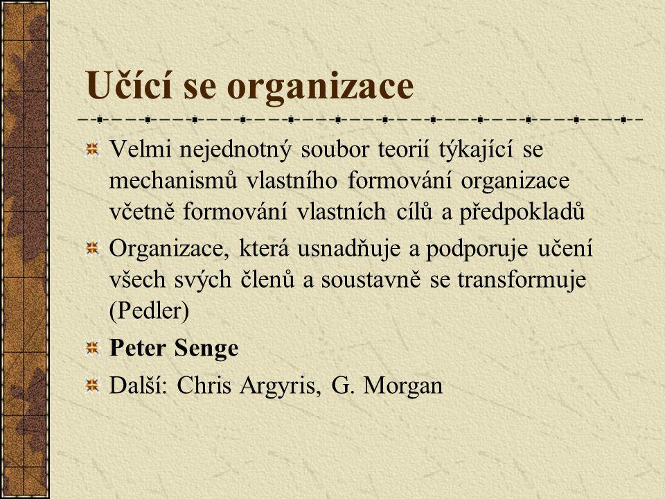 Učící se organizace Velmi nejednotný soubor teorií týkající se mechanismů vlastního formování organizace včetně formování vlastních cílů a předpokladů Organizace, která usnadňuje a podporuje učení všech svých členů a soustavně se transformuje (Pedler) Peter Senge Další: Chris Argyris, G.