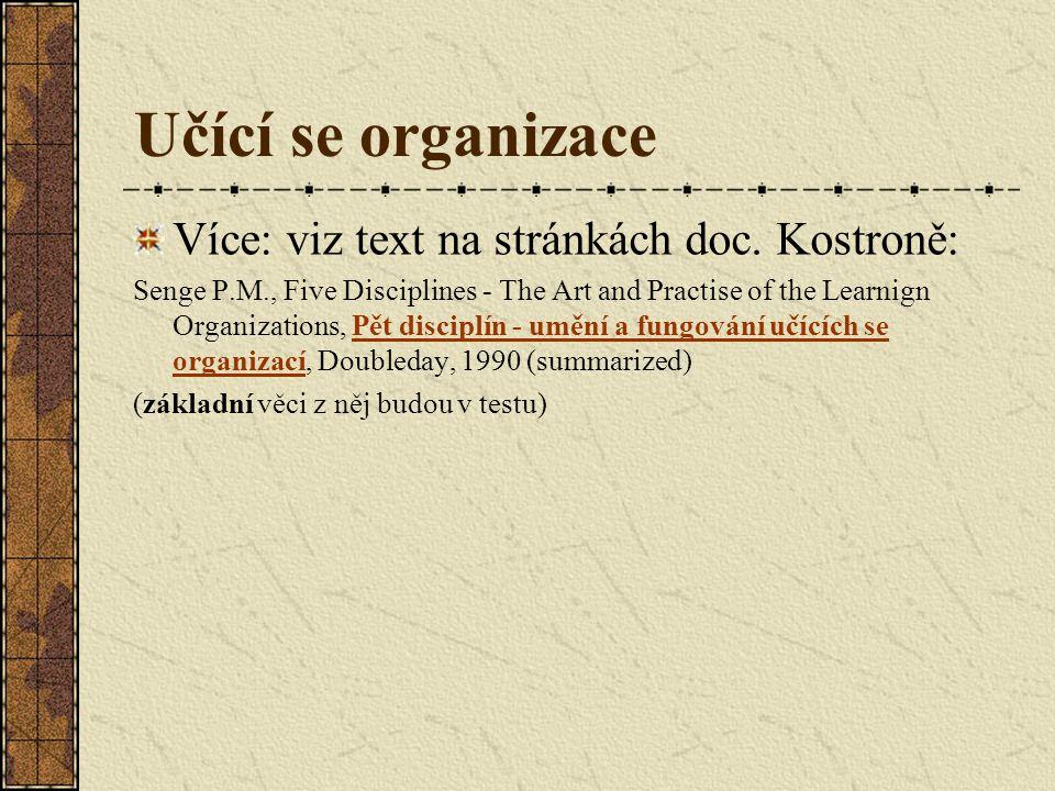 Učící se organizace Více: viz text na stránkách doc.