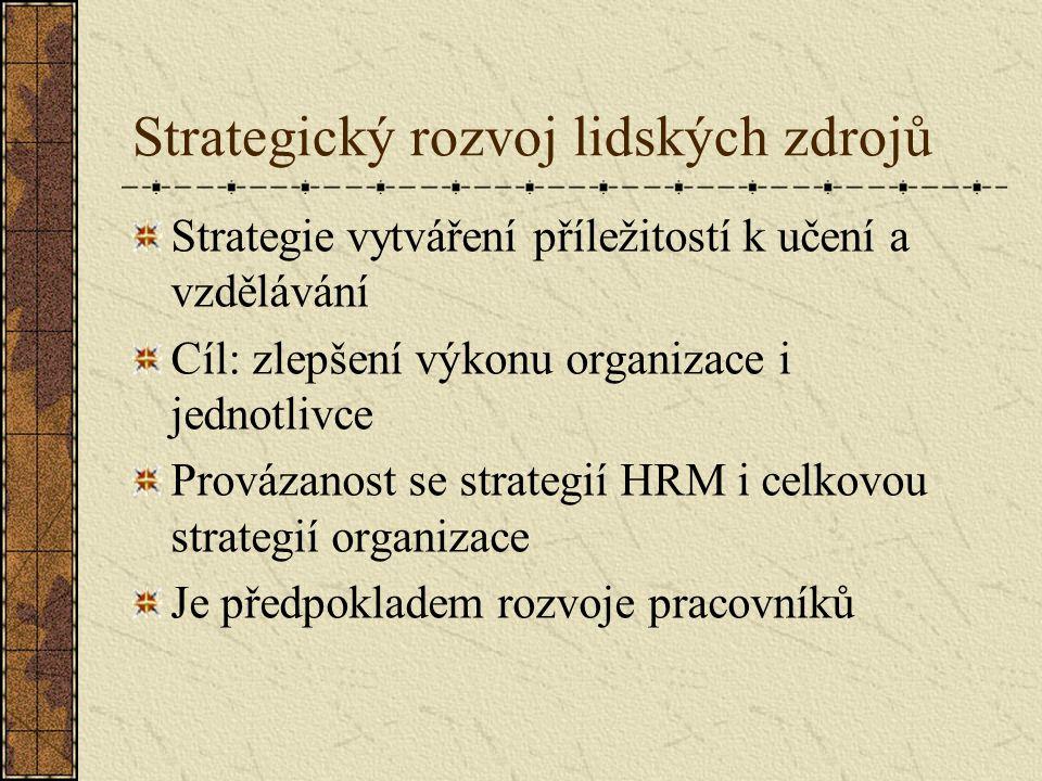 Strategický rozvoj lidských zdrojů Strategie vytváření příležitostí k učení a vzdělávání Cíl: zlepšení výkonu organizace i jednotlivce Provázanost se strategií HRM i celkovou strategií organizace Je předpokladem rozvoje pracovníků