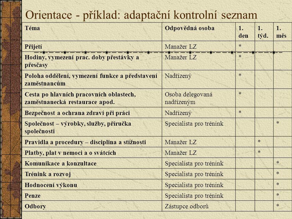 Orientace - příklad: adaptační kontrolní seznam TémaOdpovědná osoba1.