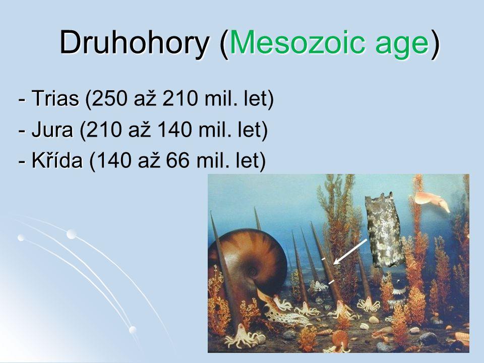 Druhohory (Mesozoic age) - Trias - Trias (250 až 210 mil. let) - Jura - Jura (210 až 140 mil. let) - Křída - Křída (140 až 66 mil. let)