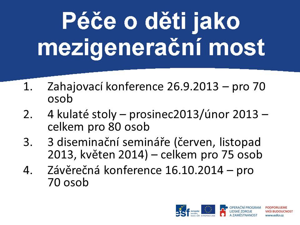 P 1.Zahajovací konference 26.9.2013 – pro 70 osob 2.4 kulaté stoly – prosinec2013/únor 2013 – celkem pro 80 osob 3.3 diseminační semináře (červen, lis