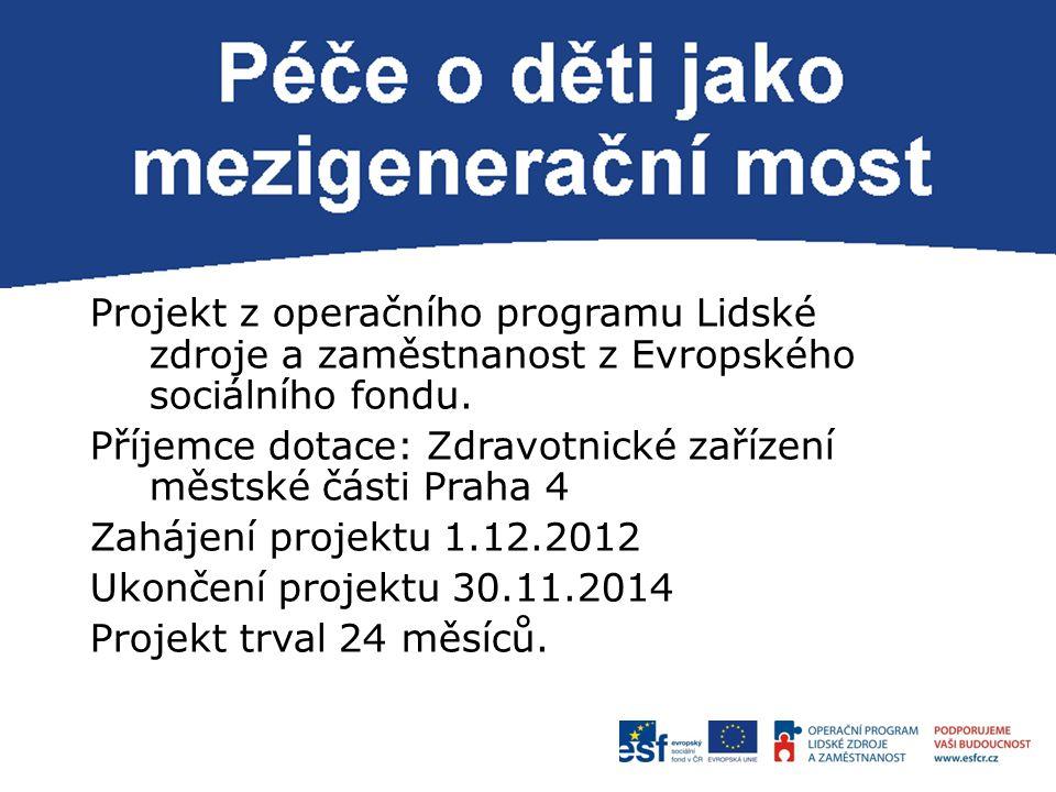 P Projekt z operačního programu Lidské zdroje a zaměstnanost z Evropského sociálního fondu. Příjemce dotace: Zdravotnické zařízení městské části Praha