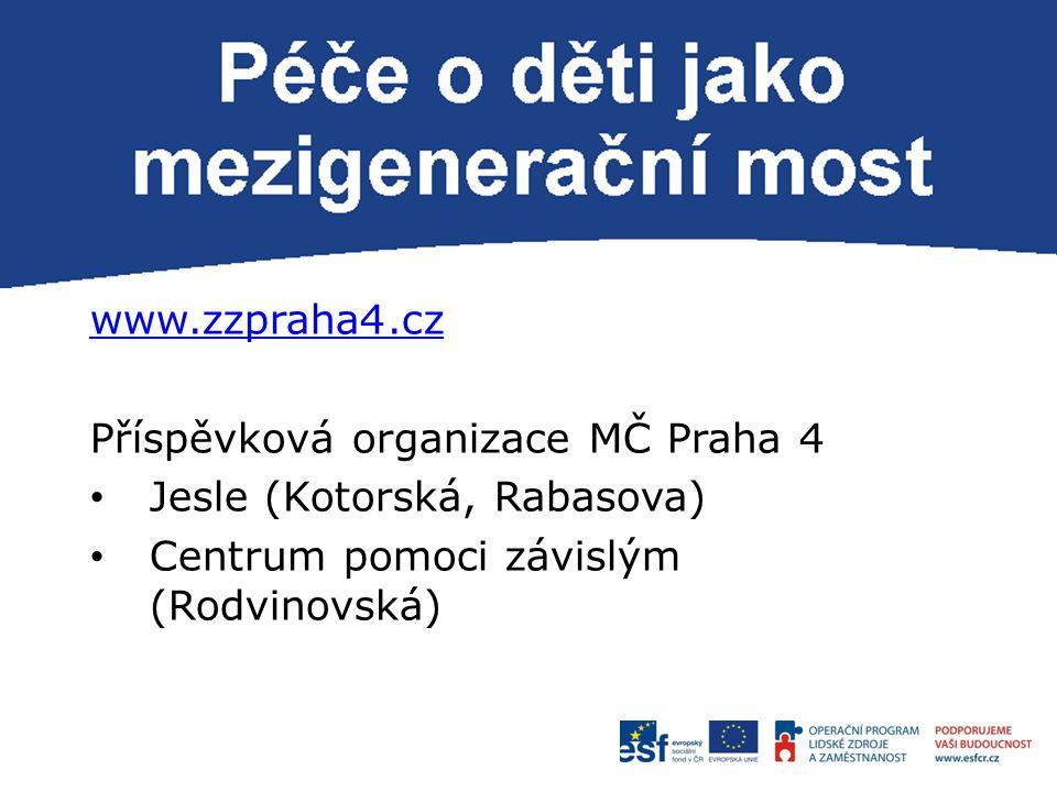 P www.zzpraha4.cz Příspěvková organizace MČ Praha 4 Jesle (Kotorská, Rabasova) Centrum pomoci závislým (Rodvinovská)