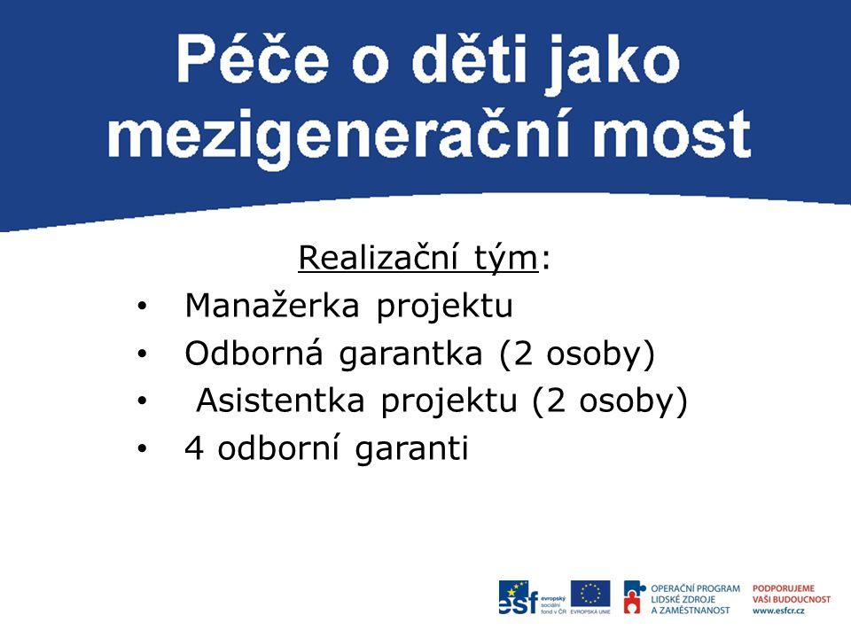 P Realizační tým: Manažerka projektu Odborná garantka (2 osoby) Asistentka projektu (2 osoby) 4 odborní garanti