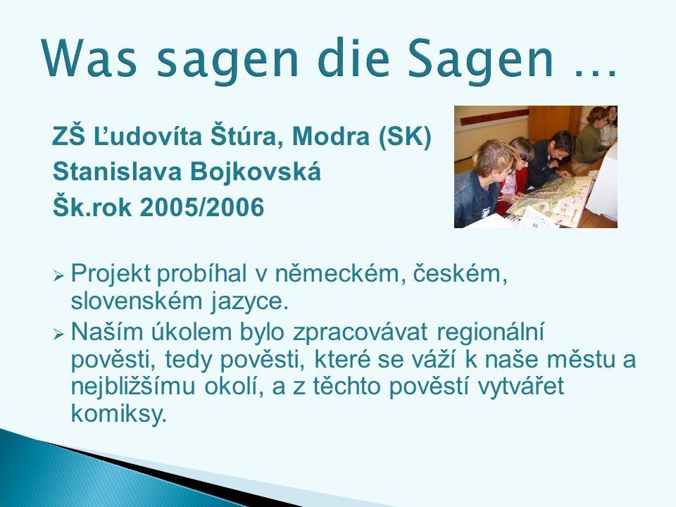 ZŠ Ľudovíta Štúra, Modra (SK) Stanislava Bojkovská Šk.rok 2005/2006  Projekt probíhal v německém, českém, slovenském jazyce.