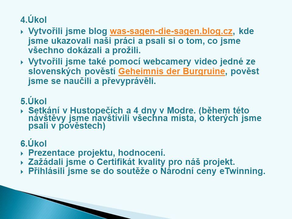 4.Úkol  Vytvořili jsme blog was-sagen-die-sagen.blog.cz, kde jsme ukazovali naši práci a psali si o tom, co jsme všechno dokázali a prožili.was-sagen-die-sagen.blog.cz  Vytvořili jsme také pomocí webcamery video jedné ze slovenských pověstí Geheimnis der Burgruine, pověst jsme se naučili a převyprávěli.Geheimnis der Burgruine 5.Úkol  Setkání v Hustopečích a 4 dny v Modre.
