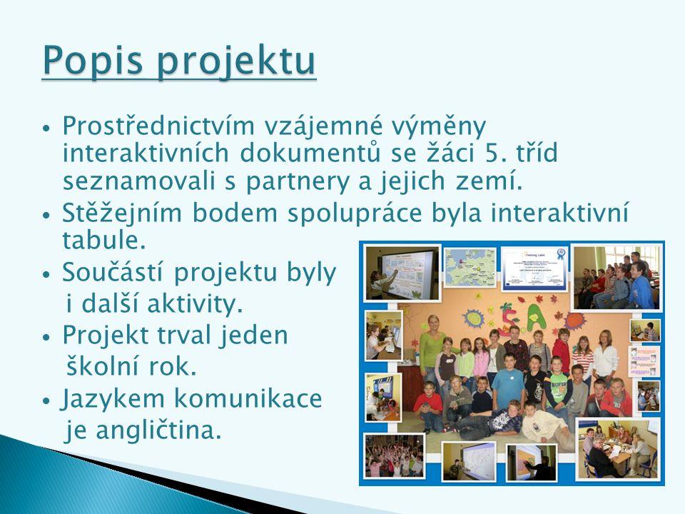 Prostřednictvím vzájemné výměny interaktivních dokumentů se žáci 5.