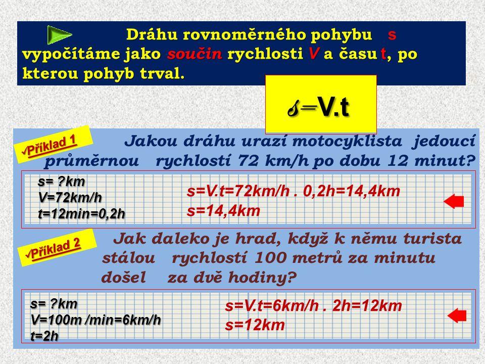 2,8m/s 42 m Příklad 3: Výtah se pohybuje rychlostí 2,8 m/s.