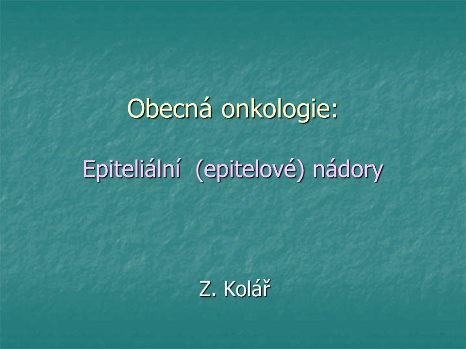 Dělení benigních epiteliálních (epitelových) nádorů A – Benigní nádory krycího epitelu - papilom - papilom - papilární fibroepiteliom - papilární fibroepiteliom B – Benigní nádory žlazového epitelu - adenom (acinární, tubulární, trabekulární, folikulární, - adenom (acinární, tubulární, trabekulární, folikulární, solidní, alveolární) solidní, alveolární) - cystadenom - cystadenom - epiteliom - epiteliom