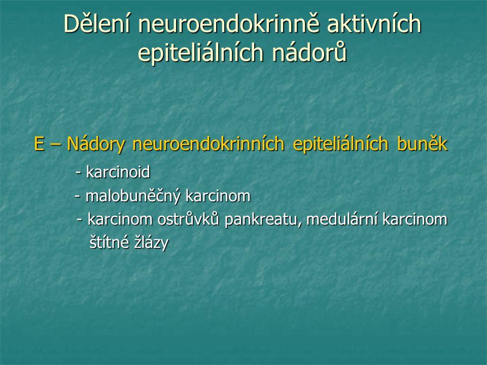 Dělení neuroendokrinně aktivních epiteliálních nádorů E – Nádory neuroendokrinních epiteliálních buněk - karcinoid - karcinoid - malobuněčný karcinom