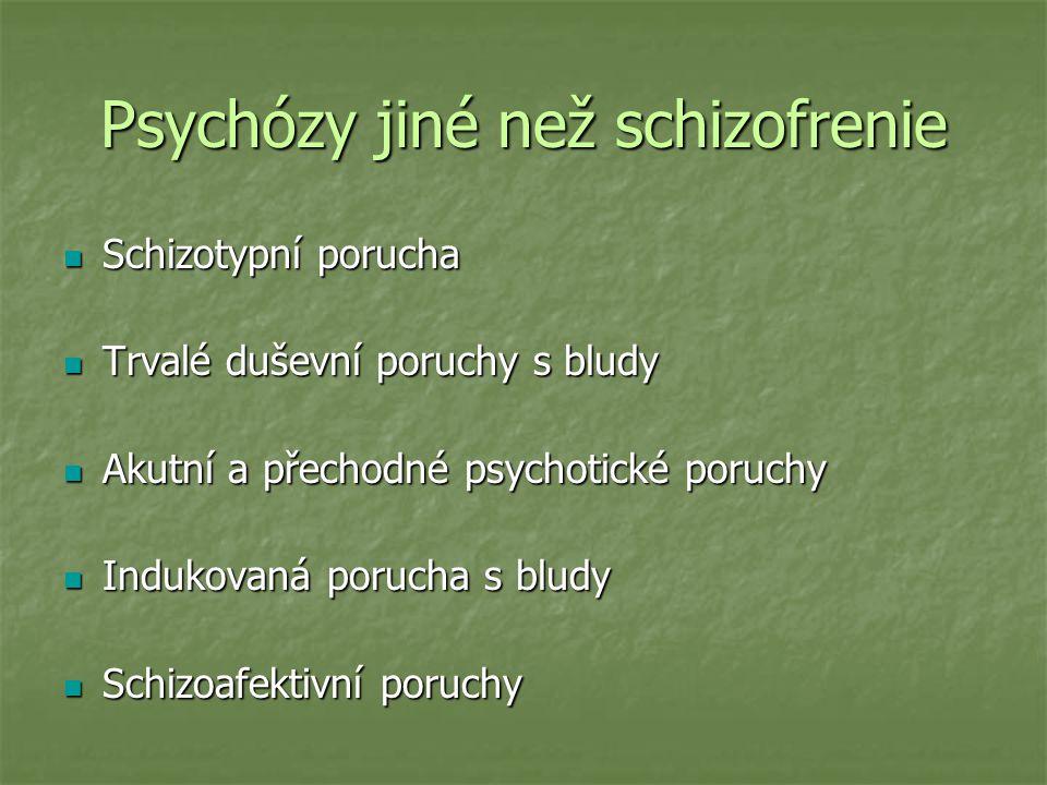 Psychózy jiné než schizofrenie Schizotypní porucha Schizotypní porucha Trvalé duševní poruchy s bludy Trvalé duševní poruchy s bludy Akutní a přechodn