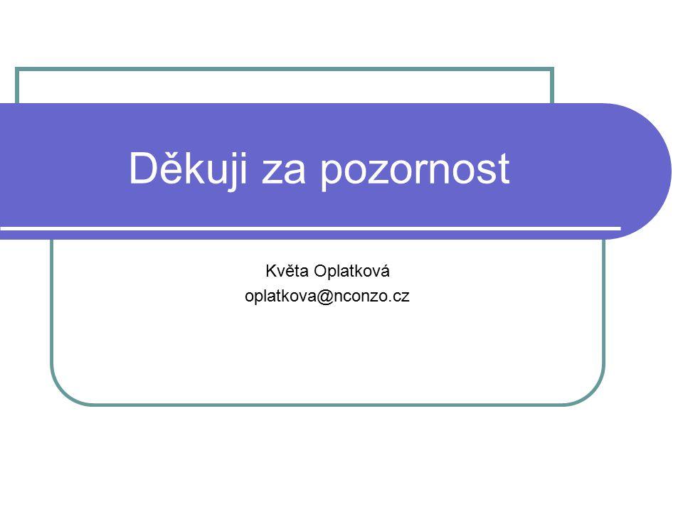 Děkuji za pozornost Květa Oplatková oplatkova@nconzo.cz