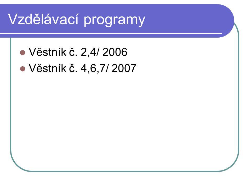 Vzdělávací programy Věstník č. 2,4/ 2006 Věstník č. 4,6,7/ 2007