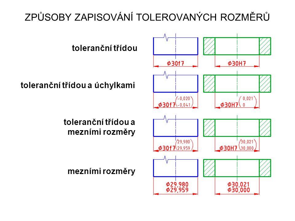 toleranční třídou toleranční třídou a úchylkami toleranční třídou a mezními rozměry mezními rozměry ZPŮSOBY ZAPISOVÁNÍ TOLEROVANÝCH ROZMĚRŮ