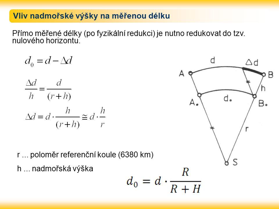 Vliv nadmořské výšky na měřenou délku Přímo měřené délky (po fyzikální redukci) je nutno redukovat do tzv.