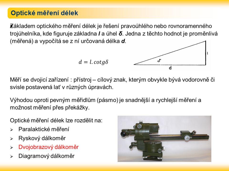 Paralaktické měření délek Paralaktické měření délek je založeno na velmi přesném měření tzv.