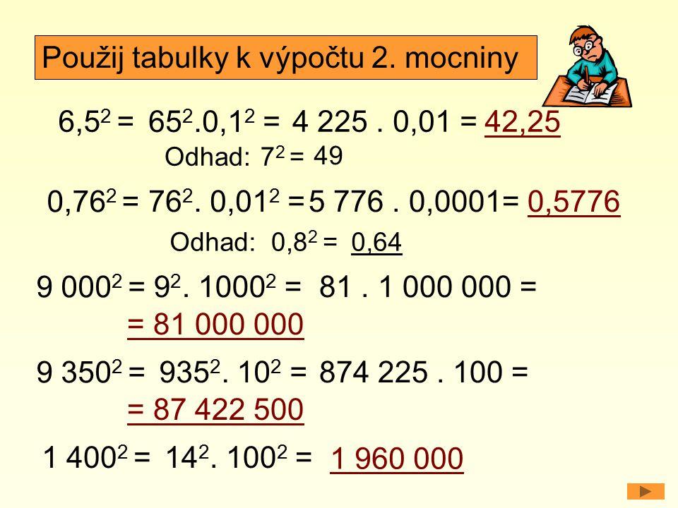 6,5 2 = 0,76 2 = Odhad: Použij tabulky k výpočtu 2. mocniny 65 2.0,1 2 = 4 225. 0,01 =42,25 76 2. 0,01 2 =5 776. 0,0001=0,5776 7 2 = 49 Odhad:0,8 2 =0