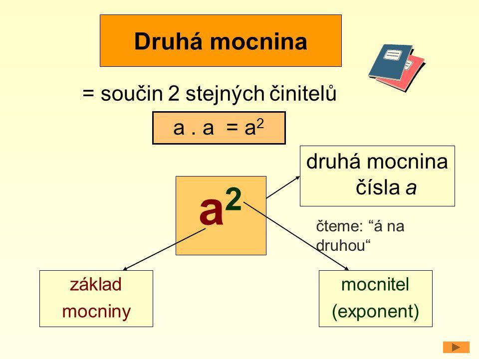 """Druhá mocnina = součin 2 stejných činitelů a. a = a 2 a2a2 základ mocniny mocnitel (exponent) druhá mocnina čísla a čteme: """"á na druhou"""""""