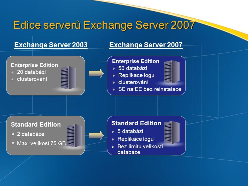 Edice serverů Exchange Server 2007 Exchange Server 2003 Standard Edition 2 databáze Max.