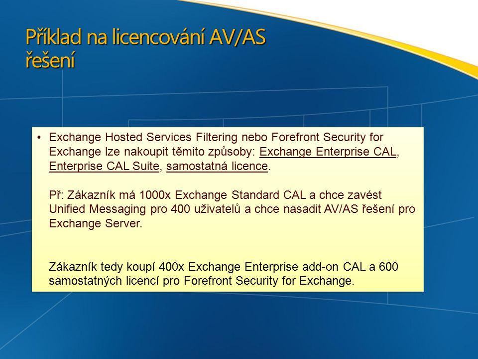 Příklad na licencování AV/AS řešení Exchange Hosted Services Filtering nebo Forefront Security for Exchange lze nakoupit těmito způsoby: Exchange Enterprise CAL, Enterprise CAL Suite, samostatná licence.