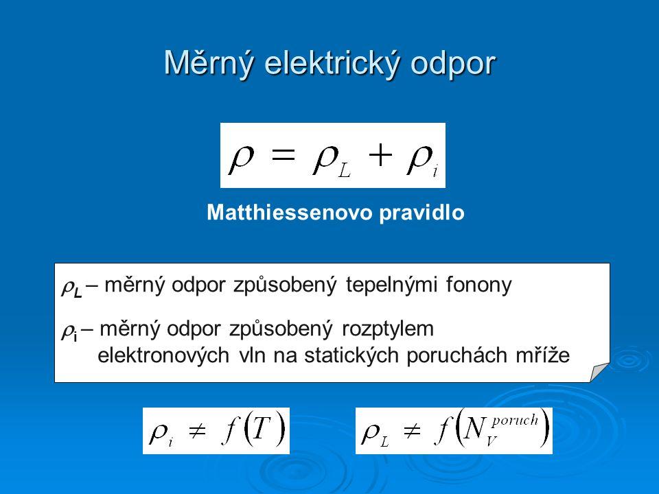 Měrný elektrický odpor Matthiessenovo pravidlo  L – měrný odpor způsobený tepelnými fonony  i – měrný odpor způsobený rozptylem elektronových vln na