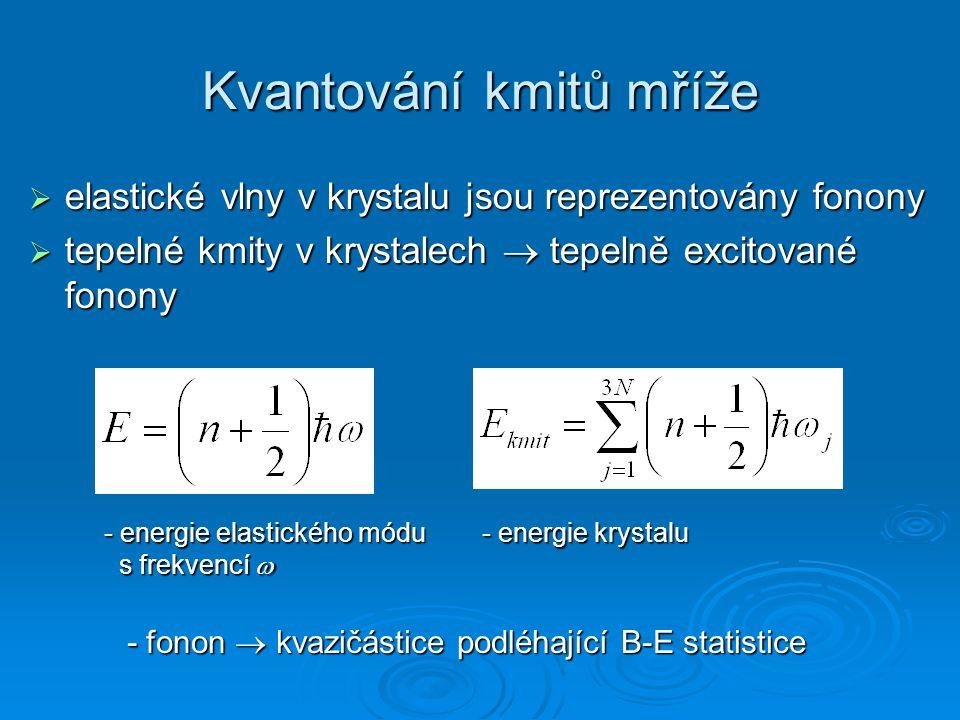 Tepelná vodivost Q x – hustota tepelného proudu K – tepelná vodivost Tepelný odpor: r – rozptyl nositelů proudu navzájem h – rozptyl na hranicích krystalu p – rozptyl na příměsích a na poruchách mřížky plyn: fononový plyn: polarizace frekvence