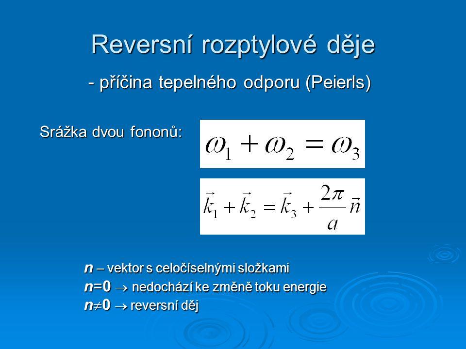Reversní rozptylové děje - příčina tepelného odporu (Peierls) Srážka dvou fononů: n – vektor s celočíselnými složkami n=0  nedochází ke změně toku en