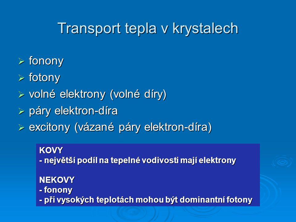 Transport tepla v krystalech  fonony  fotony  volné elektrony (volné díry)  páry elektron-díra  excitony (vázané páry elektron-díra) KOVY - nejvě