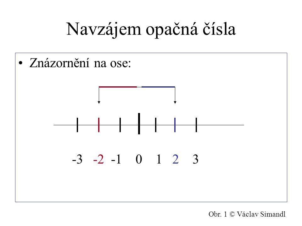 Navzájem opačná čísla Znázornění na ose: -3 -2 -1 0 1 2 3 Obr. 1 © Václav Simandl