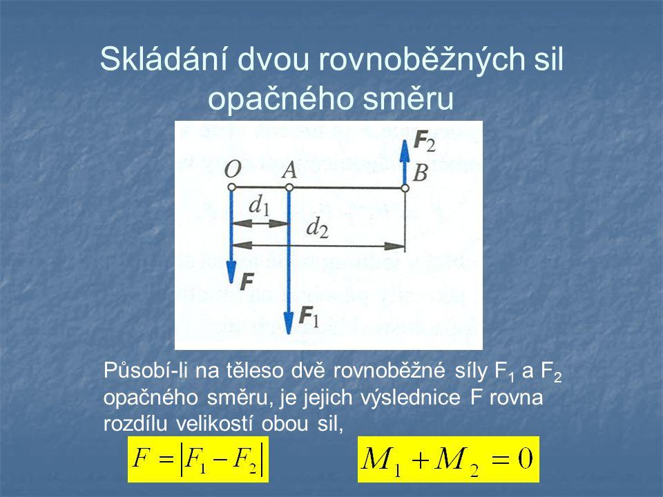 Skládání dvou rovnoběžných sil opačného směru Působí-li na těleso dvě rovnoběžné síly F 1 a F 2 opačného směru, je jejich výslednice F rovna rozdílu v